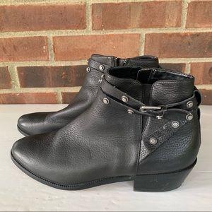 Halogen black leather booties studs